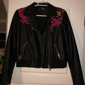 Free People embroidered leather bomber jacket